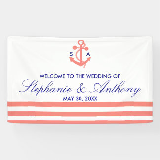 Monogram Coral Pink Nautical and Navy Blue Wedding Banner