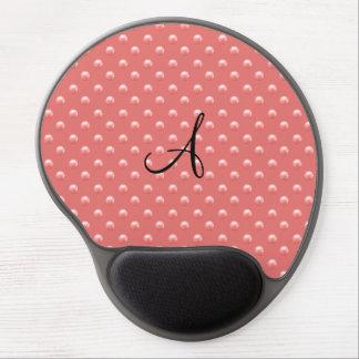 Monogram coral pink pearl polka dots gel mouse pad