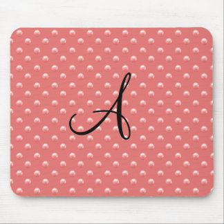 Monogram coral pink pearl polka dots mouse pads