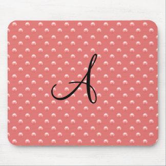 Monogram coral pink pearl polka dots mouse pad
