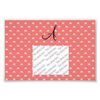 Monogram coral pink pearl polka dots photo