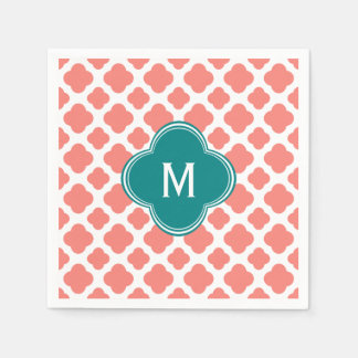 Monogram Coral Pink Quatrefoil Pattern with Teal Paper Napkin