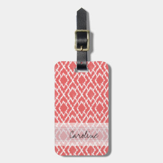 Monogram Coral Pink Tribal Ikat Diamond Pattern Luggage Tag