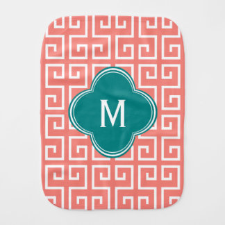 Monogram Coral Pink, White, Teal Geometric Pattern Baby Burp Cloths