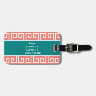 Monogram Coral Pink, White, Teal Geometric Pattern Bag Tag