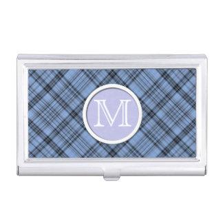 Monogram Cornflower Blue Plaid Businesscard Holder Business Card Cases
