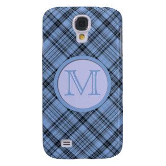 Monogram Cornflower Blue Plaid Galaxy S4 Cover
