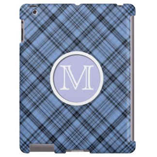 Monogram Cornflower Blue Plaid iPad Case