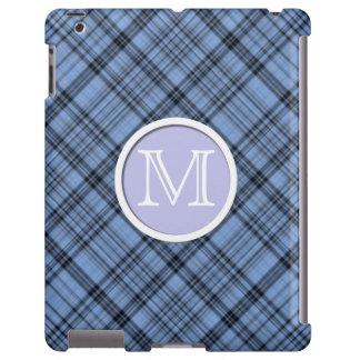 Monogram Cornflower Blue Plaid iPad Case