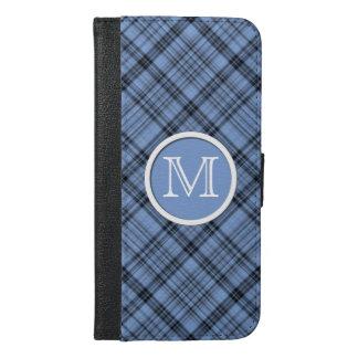 Monogram Cornflower Blue Plaid iPhone 6/6s Plus Wallet Case