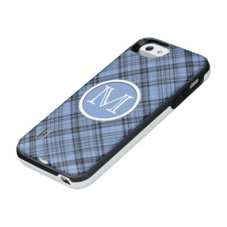 Monogram Cornflower Blue Plaid iPhone SE/5/5s Battery Case