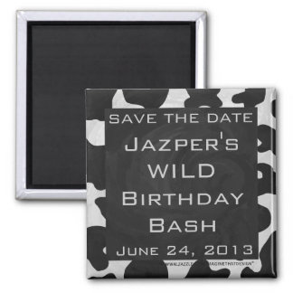 Monogram Cow Black and White Square Magnet