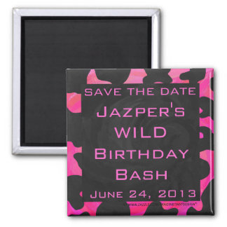 Monogram Cow Hot Pink and Black Print Square Magnet