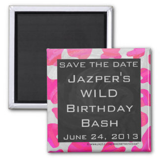 Monogram Cow Hot Pink and White Print Square Magnet