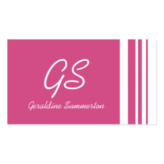 Monogram Cranberry Pink Trio Stripes with White Business Card