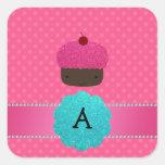 Monogram cupcake pink polka dots square stickers