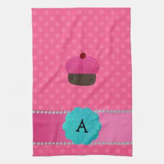 Monogram cupcake pink polka dots tea towel