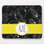 Monogram - Curly Swirls - Black White Yellow Mousepad