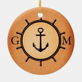 Monogram Custom Brass Nautical Wheel and Anchor Christmas Ornament