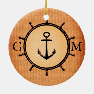 Monogram Custom Brass Nautical Wheel and Anchor Round Ceramic Decoration