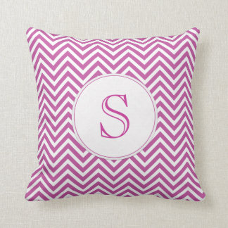 Monogram Custom Initial Modern Purple Chevron Art Cushion