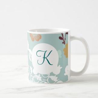 Monogram Custom Printed Coffee Mug Blue Flowers