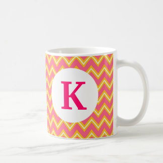 Monogram Custom Printed Coffee Mug Pink Chevron