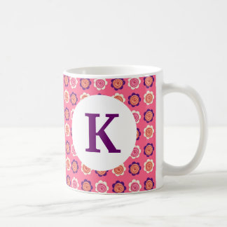 Monogram Custom Printed Coffee Mug Pretty Flowers