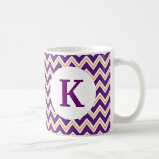 Monogram Custom Printed Coffee Mug Purple Chevron