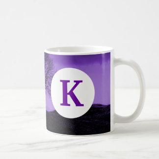 Monogram Custom Printed Coffee Tree Silhouette Basic White Mug