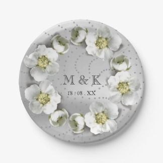Monogram Custom Silver Gray Crystals Floral Wreath Paper Plate