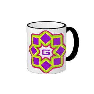 Monogram customisable colourful rotating squares coffee mug
