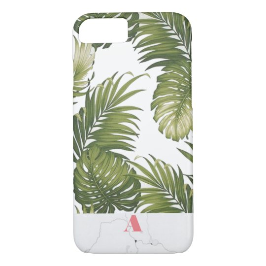 Monogram Customisable Palm Tree Marble Initial iPhone 8/7