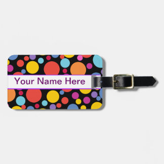 Monogram Customizable Colorful Cheerful Polka Dot Luggage Tag