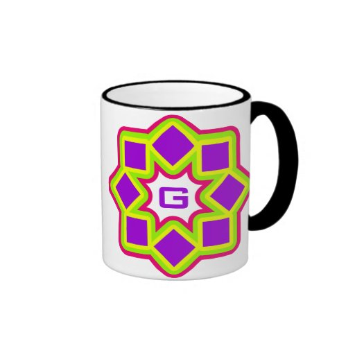 Monogram customizable colorful rotating squares coffee mug
