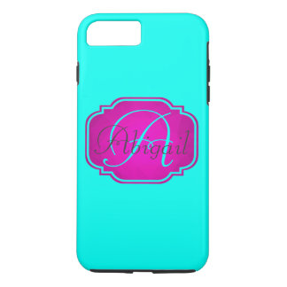 Monogram - Customizable Pink and Blue iPhone 8 Plus/7 Plus Case