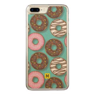 Monogram. Cute Assortment of Doughnuts Pattern. Carved iPhone 8 Plus/7 Plus Case