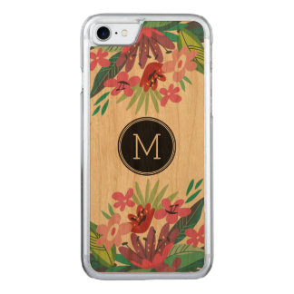 Monogram Cute Colorful Floral Design Carved iPhone 7 Case