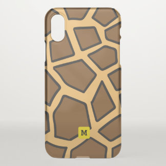 Monogram: Cute Giraffe Safari Pattern. iPhone X Case