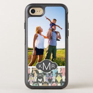 Monogram   Cute Hipster Cats Pattern OtterBox Symmetry iPhone 8/7 Case