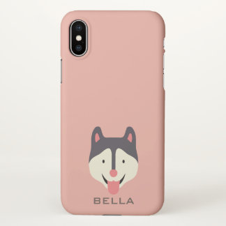 Monogram. Cute Husky Puppy Dog. iPhone X Case