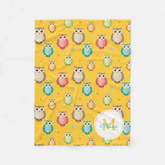 Monogram Cute Owls Pattern Blanket