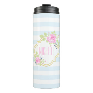 Monogram Cute Pink Roses Blueberry Thermal Tumbler