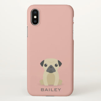 Monogram. Cute Pug Puppy Dog. iPhone X Case