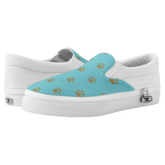 Monogram. Cute Puppy Dog Cat Paws. Printed Shoes