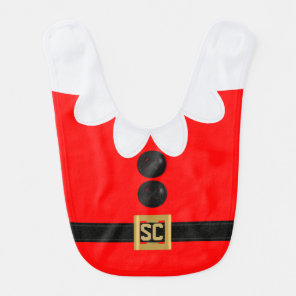 Monogram Cute Red Christmas Elf Holiday Baby Bib