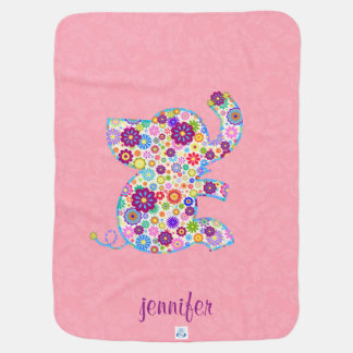 Monogram Cute Retro Flowers Cartoon Style Elephant Receiving Blanket