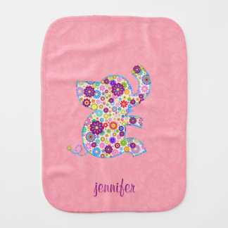 Monogram Cute Retro Flowers Cartoon Style Elephant Burp Cloth