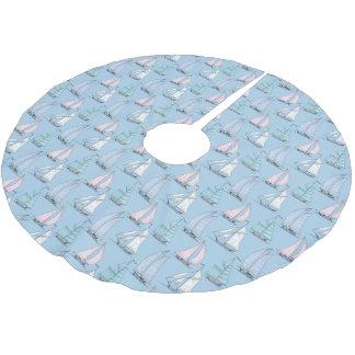 Monogram Cute Sailboat Pattern Brushed Polyester Tree Skirt