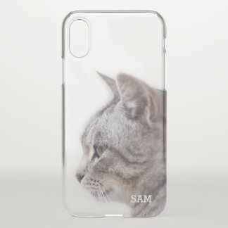 Monogram. Cute White & Gray Cat. iPhone X Case